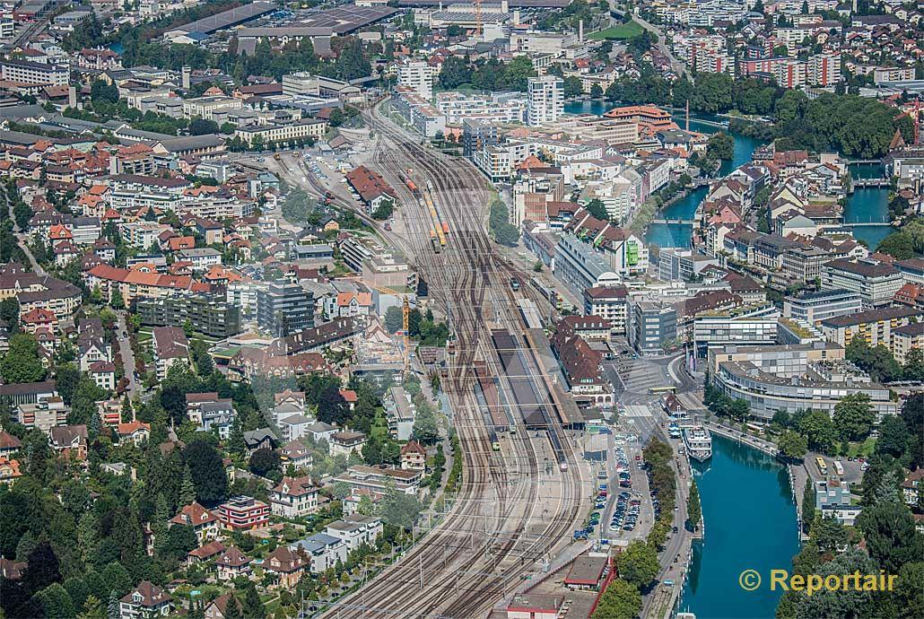 Foto: Gesamtübersicht Bahnhof Thun (BE).. (Luftaufnahme von Niklaus Wächter)