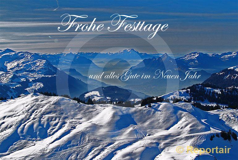 Foto: Festtagskarte Brunnenstock. (Luftaufnahme von Niklaus Wächter)