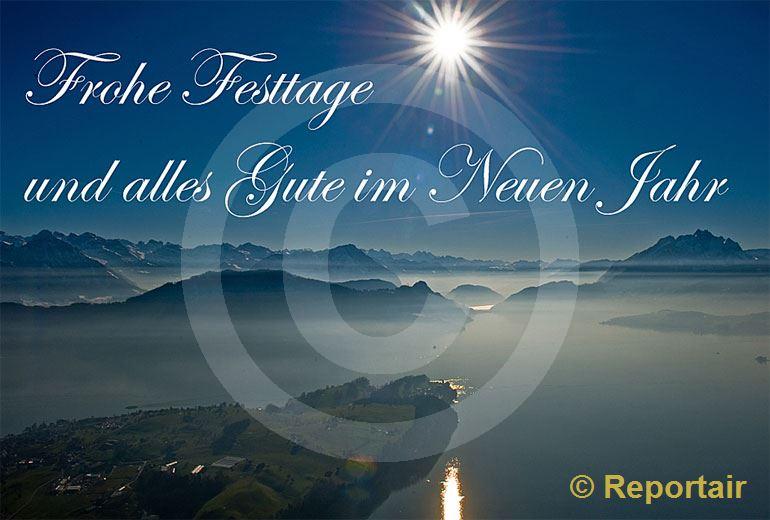 Foto: Festtagskarte Vierwaldstättersee. (Luftaufnahme von Niklaus Wächter)