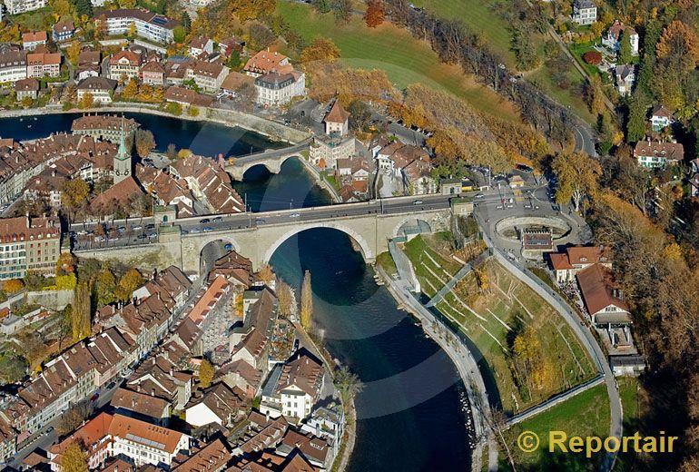 Foto: Baerengraben in Bern. (Luftaufnahme von Niklaus Wächter)