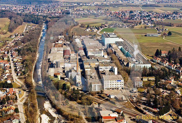 Foto: Papierfabrik Biberist (SO). (Luftaufnahme von Niklaus Wächter)