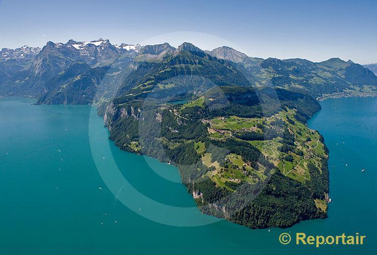 Foto: Landzunge Seelisberg UR.. (Luftaufnahme von Niklaus Wächter)