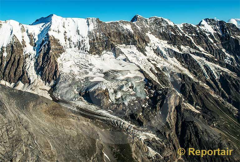 Foto: Sterbender Gletscher - der Stufesteigletscher - im Jungfraugebiet.. (Luftaufnahme von Niklaus Wächter)