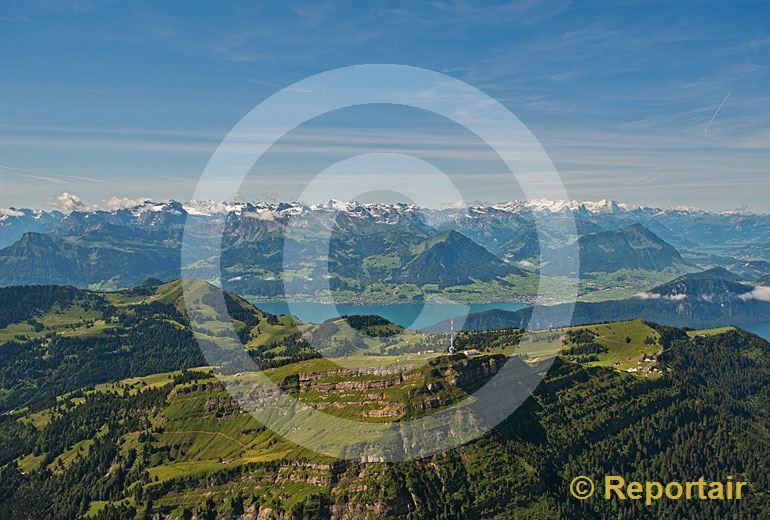 Foto: Die Rigi - Königin der Berge - vor der Alpenkette. (Luftaufnahme von Niklaus Wächter)