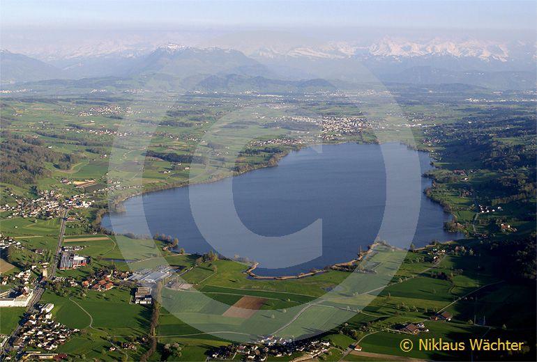 Foto: Der Baldeggersee mit dem Alpenkamm im Hintergrund. (Luftaufnahme von Niklaus Wächter)