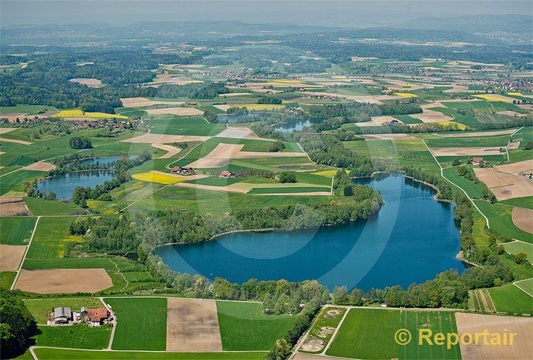 Foto: Der Hüttwilersee im Kanton Thurgau.. (Luftaufnahme von Niklaus Wächter)