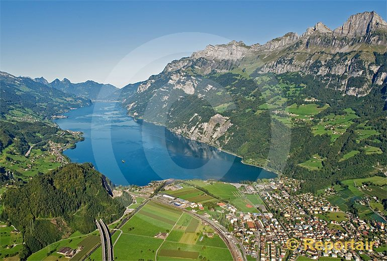 Foto: Der  Walensee. (Luftaufnahme von Niklaus Wächter)