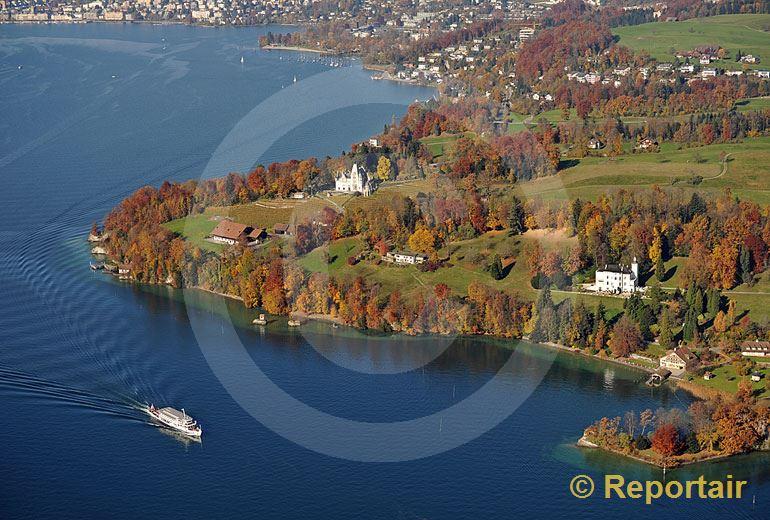 Foto: Meggenhorn an der Grenze zwischen Meggen und Luzern im Herbst. (Luftaufnahme von Niklaus Wächter)