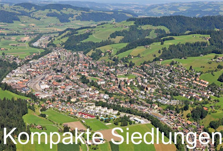 Foto: KOMPAKTE SIEDLUNGEN. (Luftaufnahme von Niklaus Wächter)