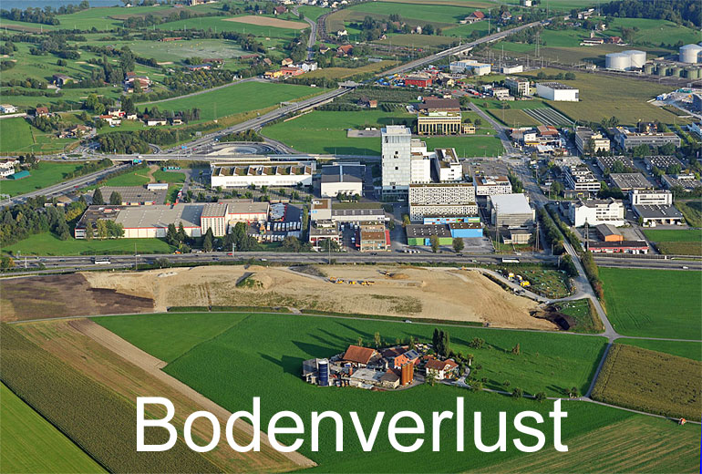 Foto: BODENVERLUST. (Luftaufnahme von Niklaus Wächter)