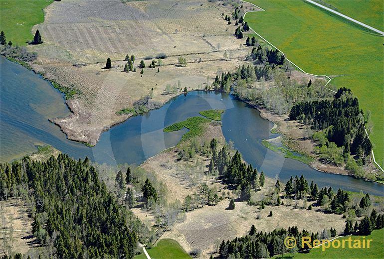 Foto: Die L Orbe mündet in den Lac de Joux VD. (Luftaufnahme von Niklaus Wächter)