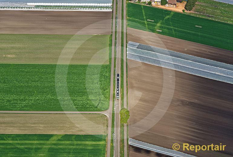 Foto: Ein Zug rollt durch die Felder des Grossen Mooses Richtung Kerzers FR. (Luftaufnahme von Niklaus Wächter)