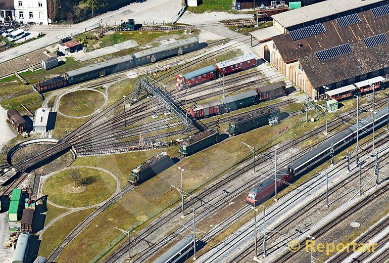 Foto: Nein, keine Modelleisenbahn, sondern ein Teil des Bahnareals von Romanshorn TG. Locorama genannt. (Luftaufnahme von Niklaus Wächter)