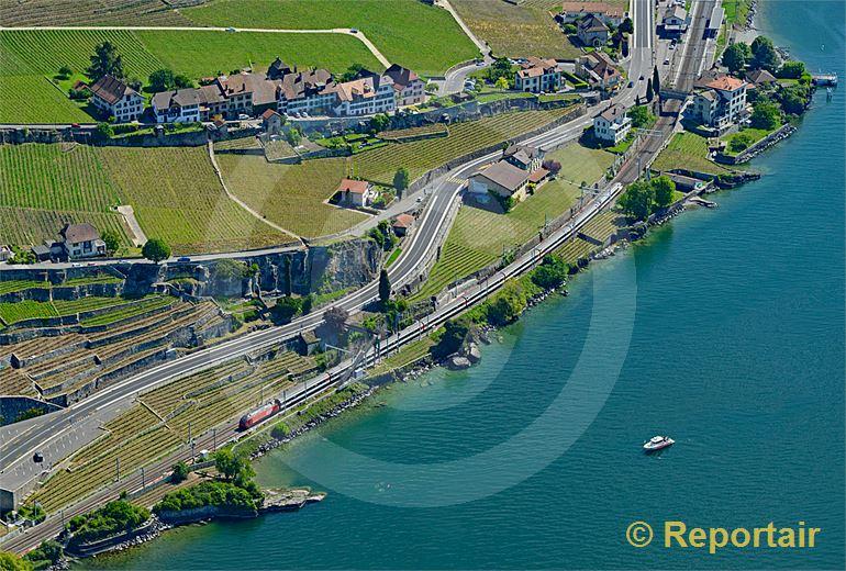 Foto: Das Ufer des Genfersees - hier bei Rivaz VD - ist überall dicht befahren. (Luftaufnahme von Niklaus Wächter)