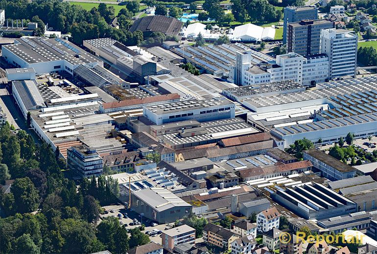 Foto: Die Bühler Holding AG mit Sitz in Uzwil SG. (Luftaufnahme von Niklaus Wächter)