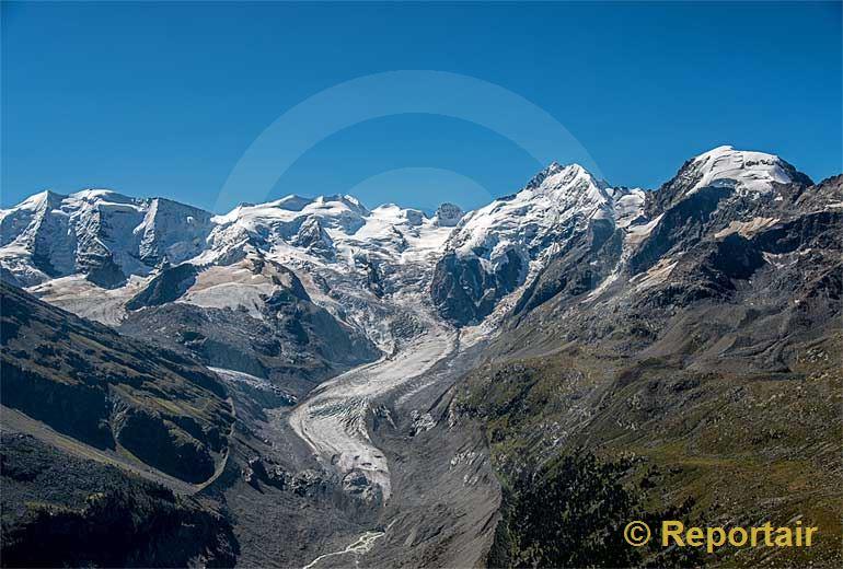 Foto: Der Morteratschgletscher in der Berninaregion (GR).. (Luftaufnahme von Niklaus Wächter)