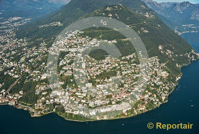 Foto: Der Monte Bre bei Lugano (TI) gilt als einer der sonnigsten Orte der Schweiz. (Luftaufnahme von Niklaus Wächter)