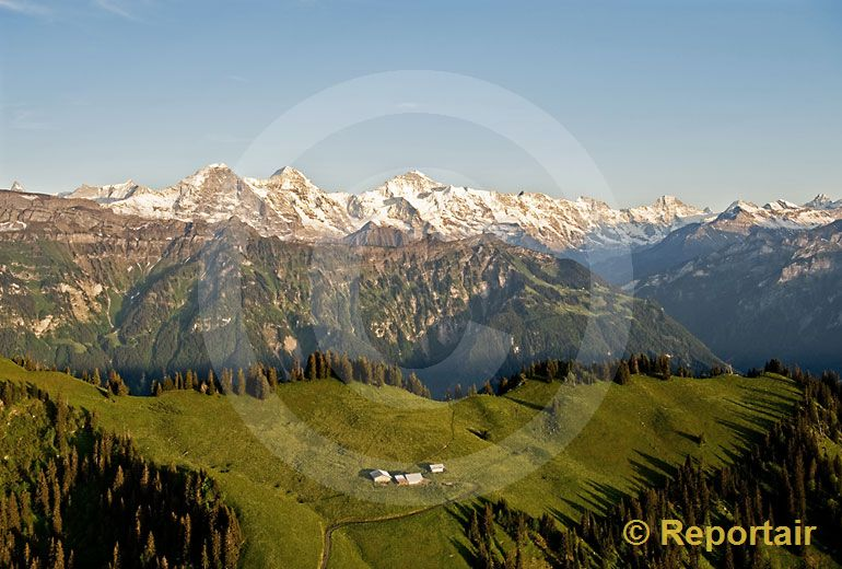 Foto: Harderkamm mit Alpenkette BE. (Luftaufnahme von Niklaus Wächter)