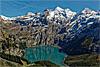 Foto 7: Der Oeschinensee ob Kandersteg liegt auf 1578 Metern Hoehe.