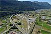Foto 15: Der Ceneri-Basistunnel im Bau. Südlich von Giubiasco TI geht die neue Linie links weg.